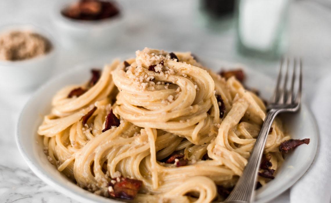 Spaghetti alla Carbonara mit Kräuterseitlingen