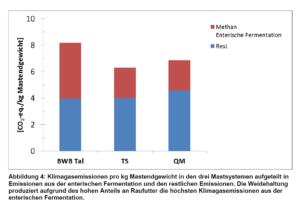 Links die Treibhausgasemissionen pro kg Rindfleisch aus Bio-Weidehaltung, in der Mitte aus TerraSuisse Betrieben (IP Suisse), rechts aus Betrieben, die nur die gesetzlichen Mindestanforderungen erfüllen müssen.