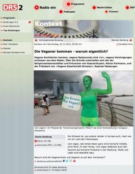 """DRS2 Kontext """"Die Veganer kommen – warum eigentlich?"""""""