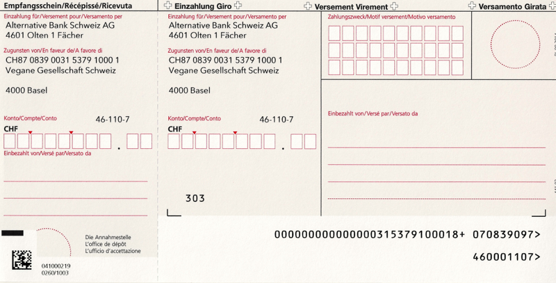 Einzahlungsschein Vegane Gesellschaft Schweiz